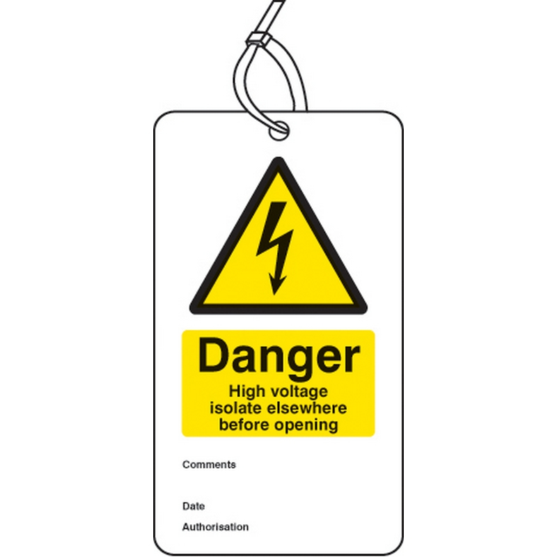 Danger high voltage isolate elsewhere D/S tag pk of 10