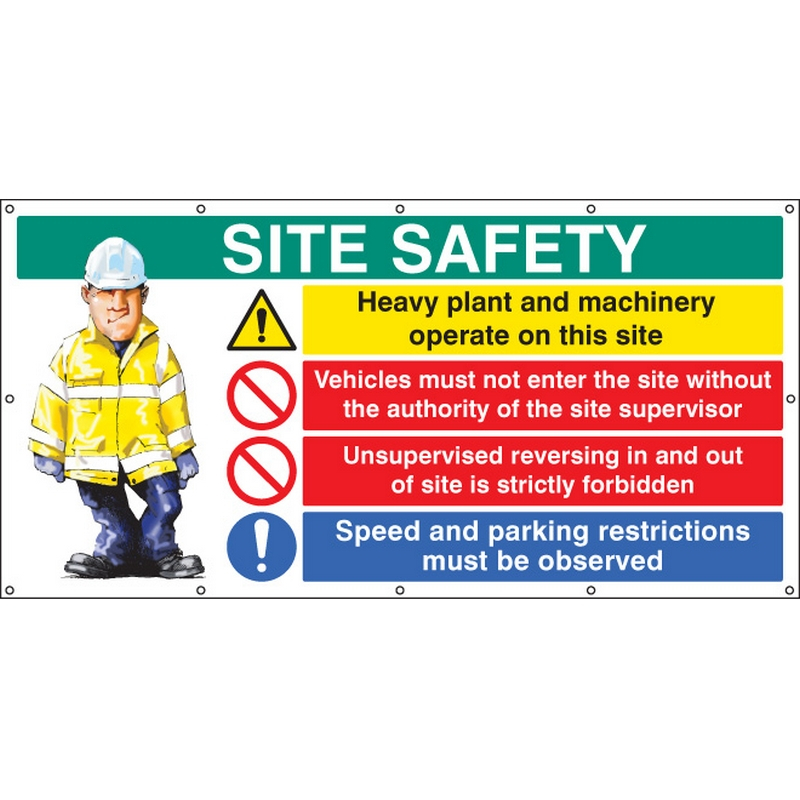 Site Safety banner  (as 6415) c/w eyelets