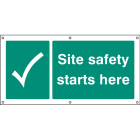 Site safety starts here banner c/w eyelets