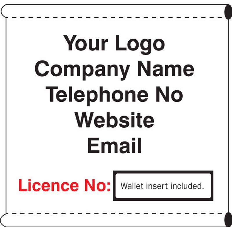 Scaffold Company Banner with wallet for license no insert (c/w loops)