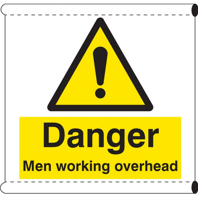 Scaffold Banner - Danger men working overhead (c/w loops)