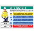 Site safety, helmets, footwear, hi vis, unauthorised entry, custom banner c/w eyelets 1270x810mm