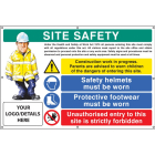 Site safety, helmets, footwear, unauthorised entry custom banner c/w eyelets 1270x810mm