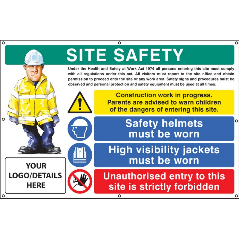 Site safety, helmets, hi-vis, unauthorised entry custom banner c/w eyelets 1270x810mm
