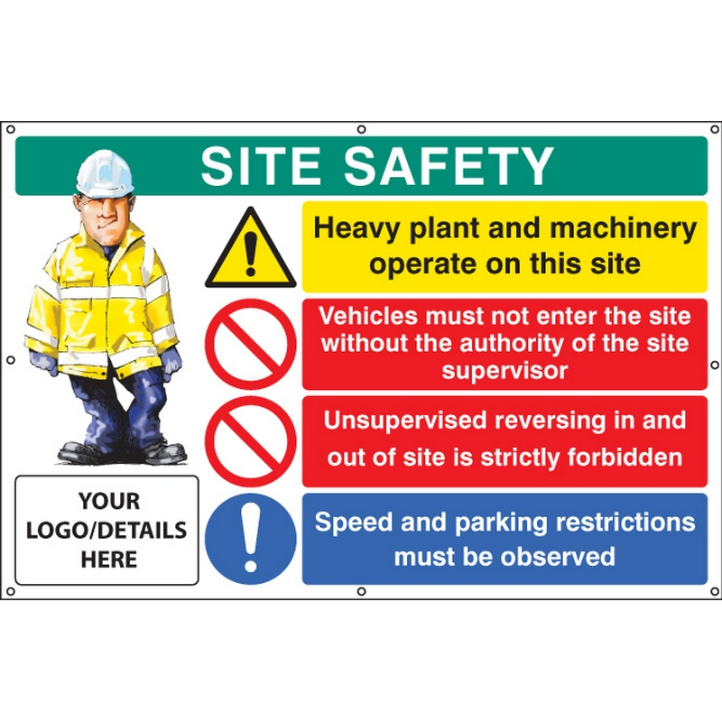 Site safety, heavy plant, vehicle access, reversing, speed, custom banner c/w eyelets 1270x810mm