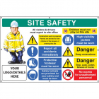 Site safety, multi-message, deep excavations, custom banner c/w eyelets 1270x810mm
