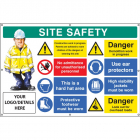 Site safety, multi-message, demolition work, custom banner c/w eyelets 1270x810mm