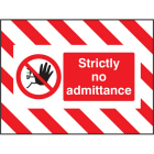 Door Screen Sign- Strictly no admittance 600x450mm