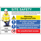 Site safety, dangerous site, visitors, PPE, access, custom banner c/w eyelets 1270x810mm