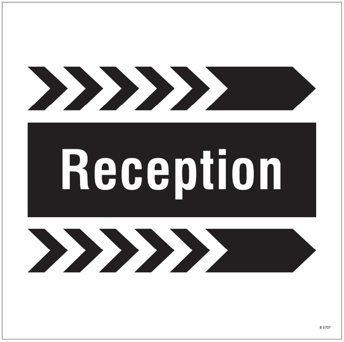 Reception, arrow right site saver sign 400x400mm