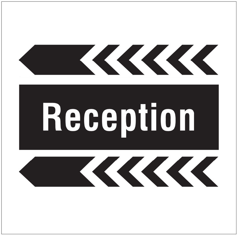 Reception, arrow left site saver sign 400x400mm