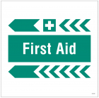 First aid, arrow left site saver sign 400x400mm