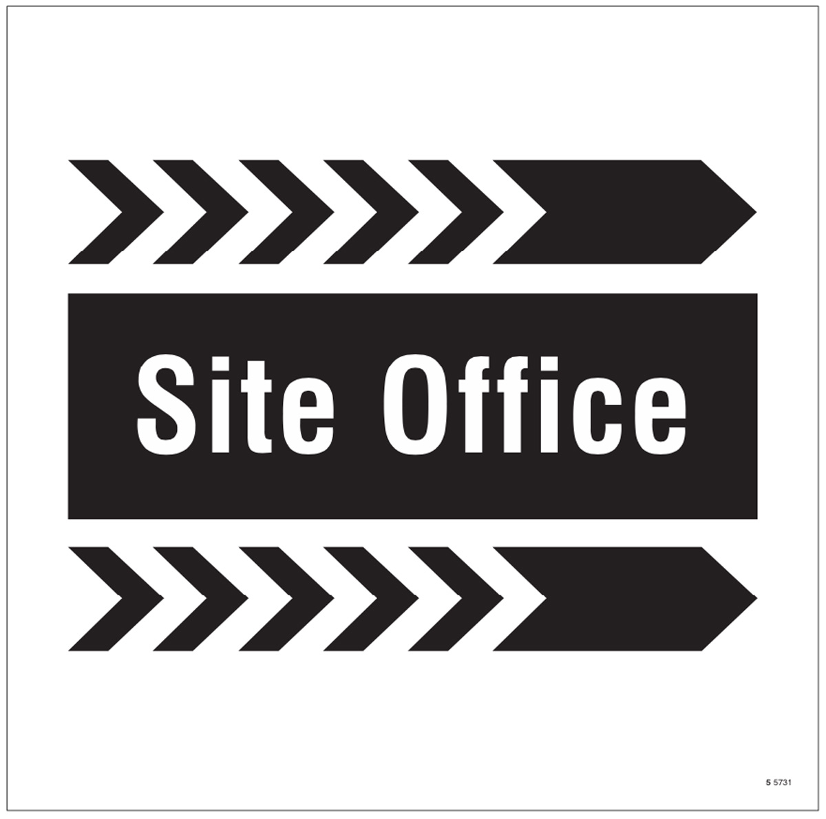 Site office, arrow right site saver sign 400x400mm