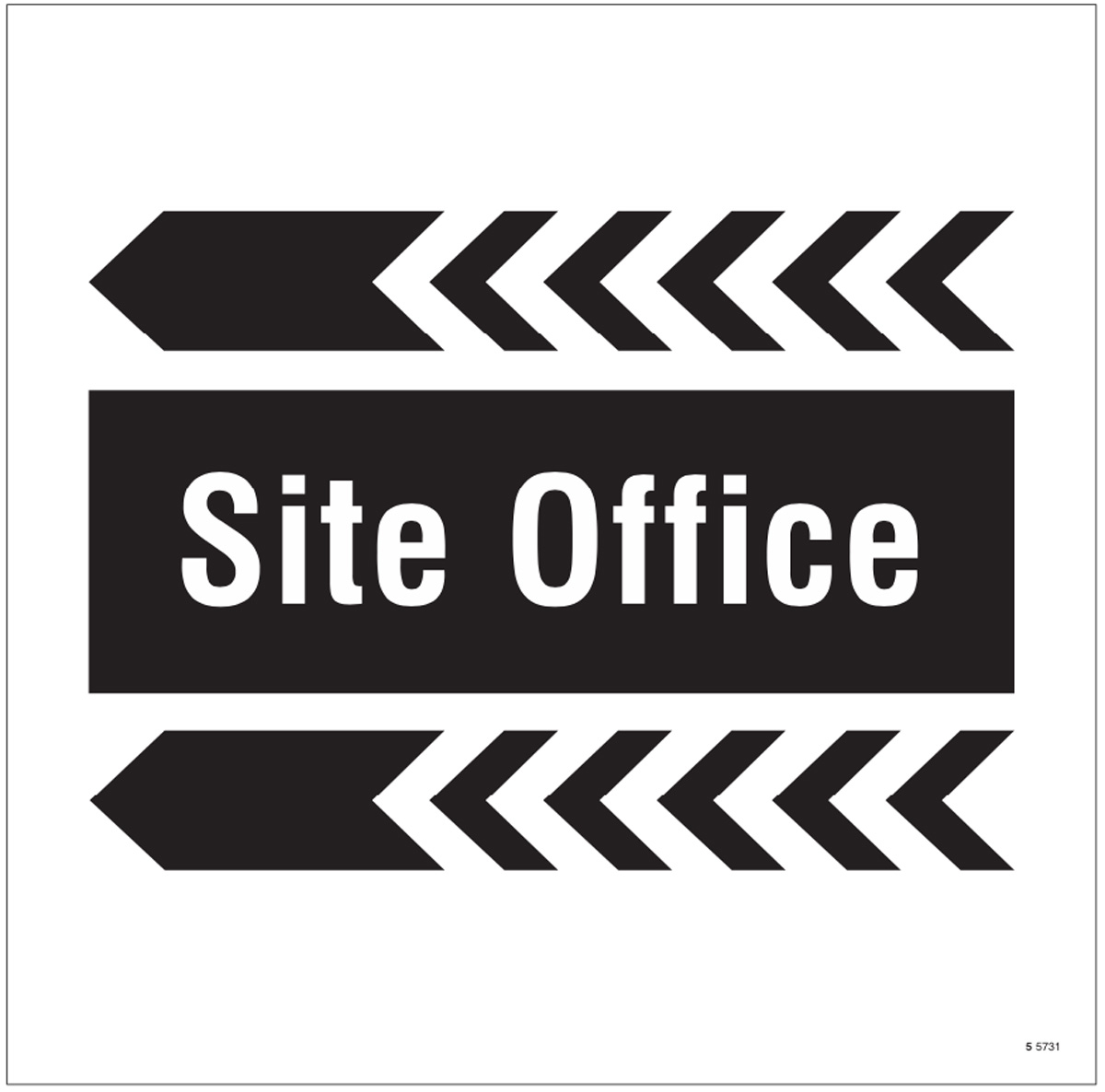 Site office, arrow left site saver sign 400x400mm