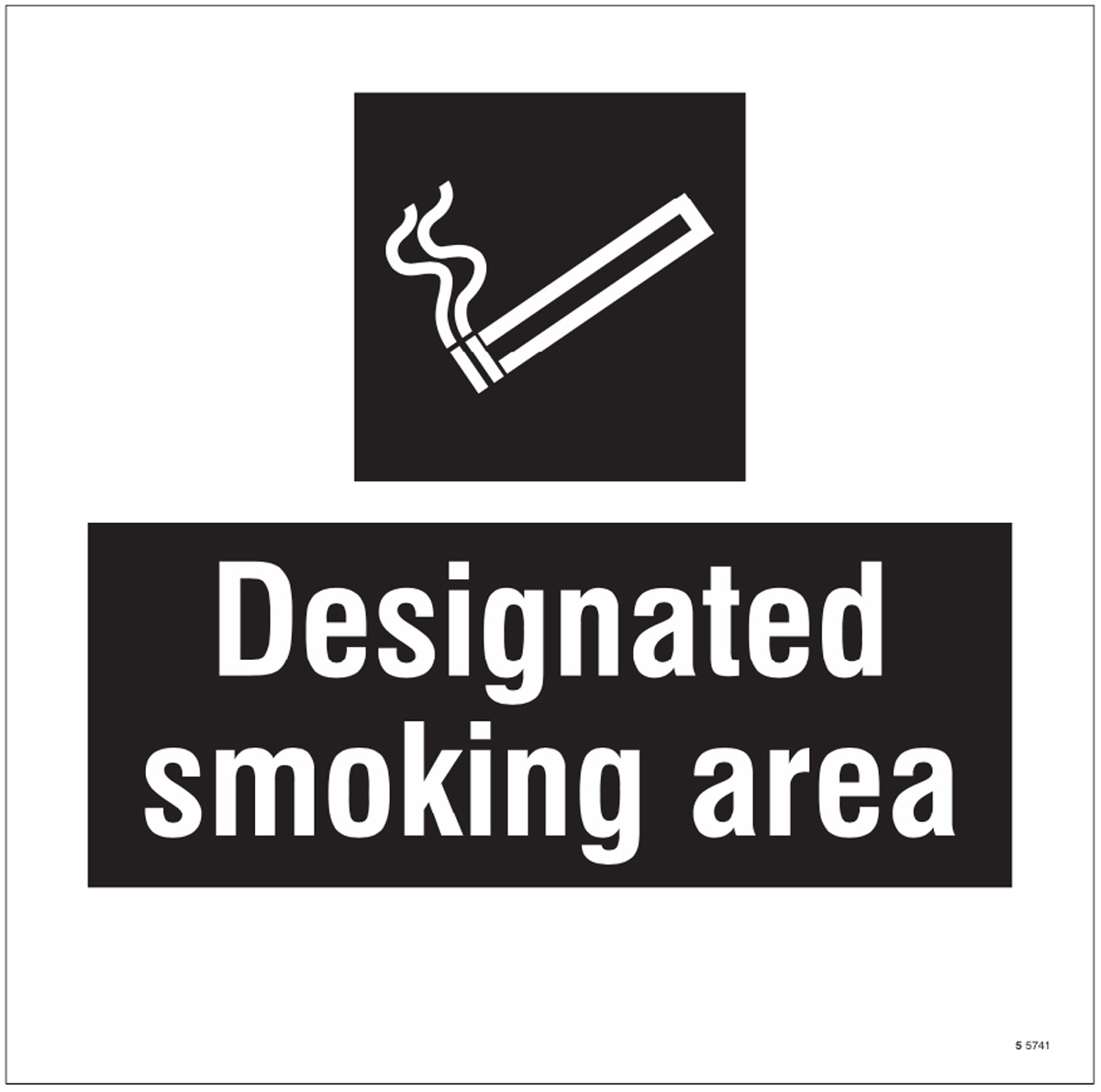 Designated smoking area, site saver sign 400x400mm