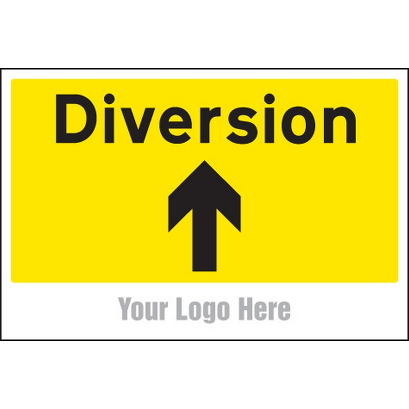 Diversion, arrow up, site saver sign 600x400mm