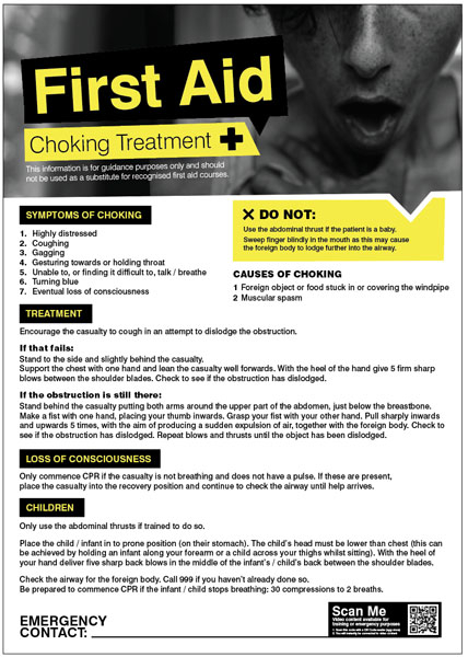 First aid choking 420x594mm poster