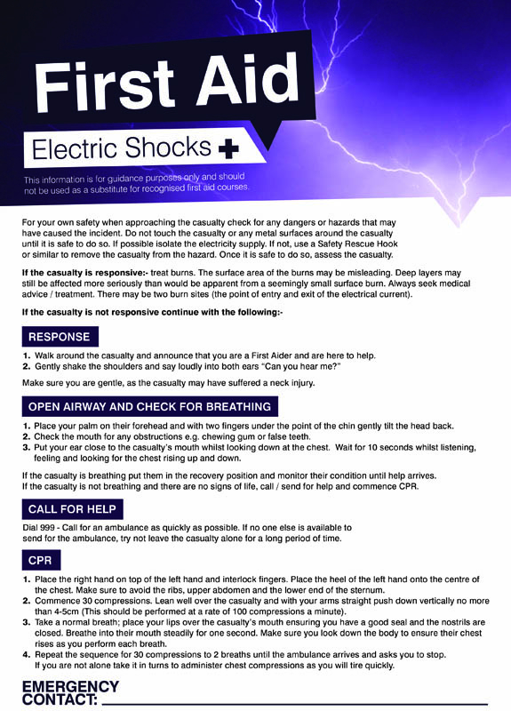 First aid shocks 420x594mm poster
