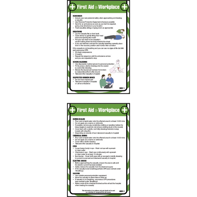 First aid workplace 80x120mm pocket guide