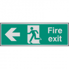Fire exit arrow left aluminium 300x100mm
