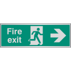 Fire exit arrow right aluminium 300x100mm