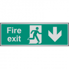 Fire exit arrow down aluminium 300x100mm