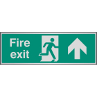 Fire exit arrow ahead aluminium 300x100mm