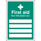 First aiders are (space for 4) adapt-a-sign 215x310mm