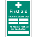 First aiders the nearest first aid box is situated adapt-a-sign 215x310mm