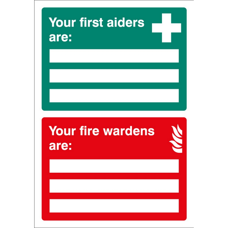 First Aiders/Fire Wardens are Adapt-a-sign 215x310mm