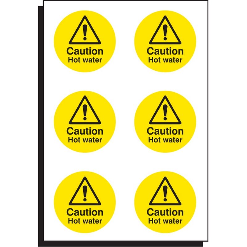 Caution hot water 65mm dia - sheet of 6
