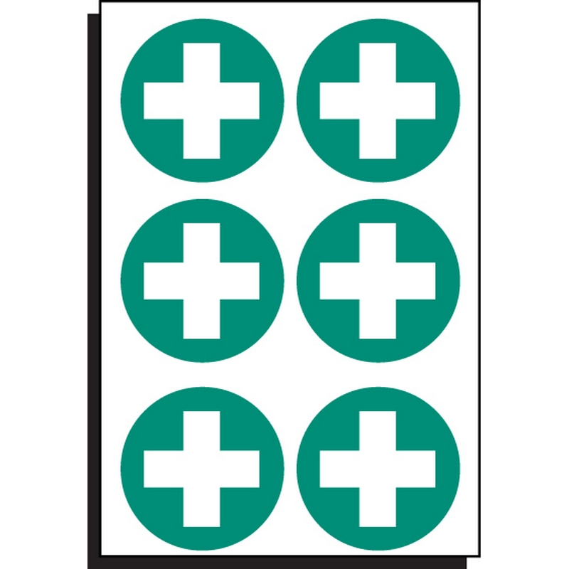 First aid symbol 65mm dia - sheet of 6