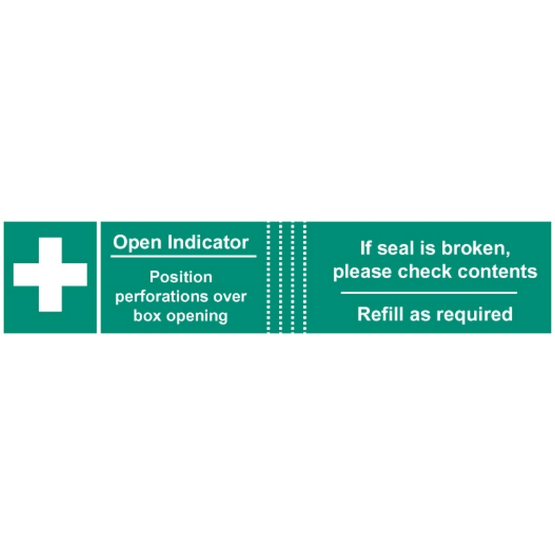First aid box tamper labels  (82x23mm on roll of 50)