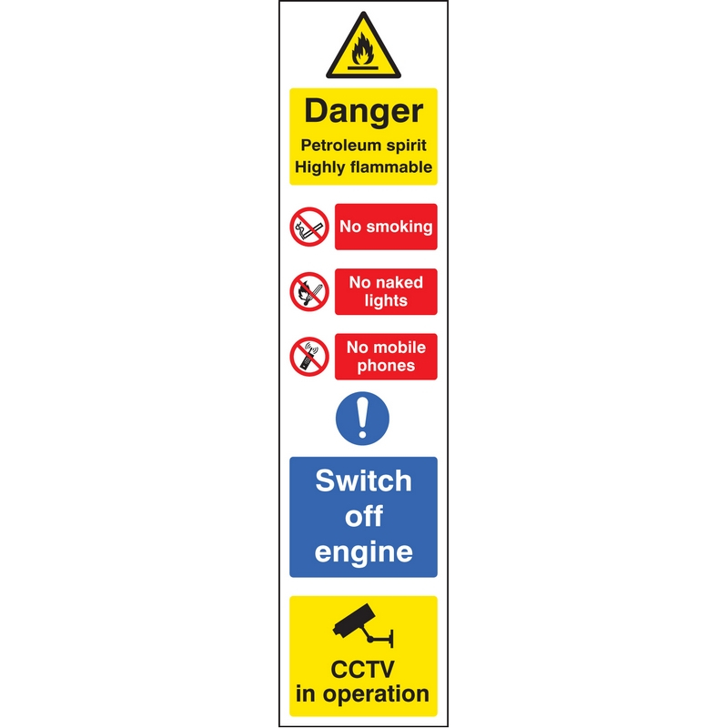 Danger petroleum spirit (multi-message) 100x400mm