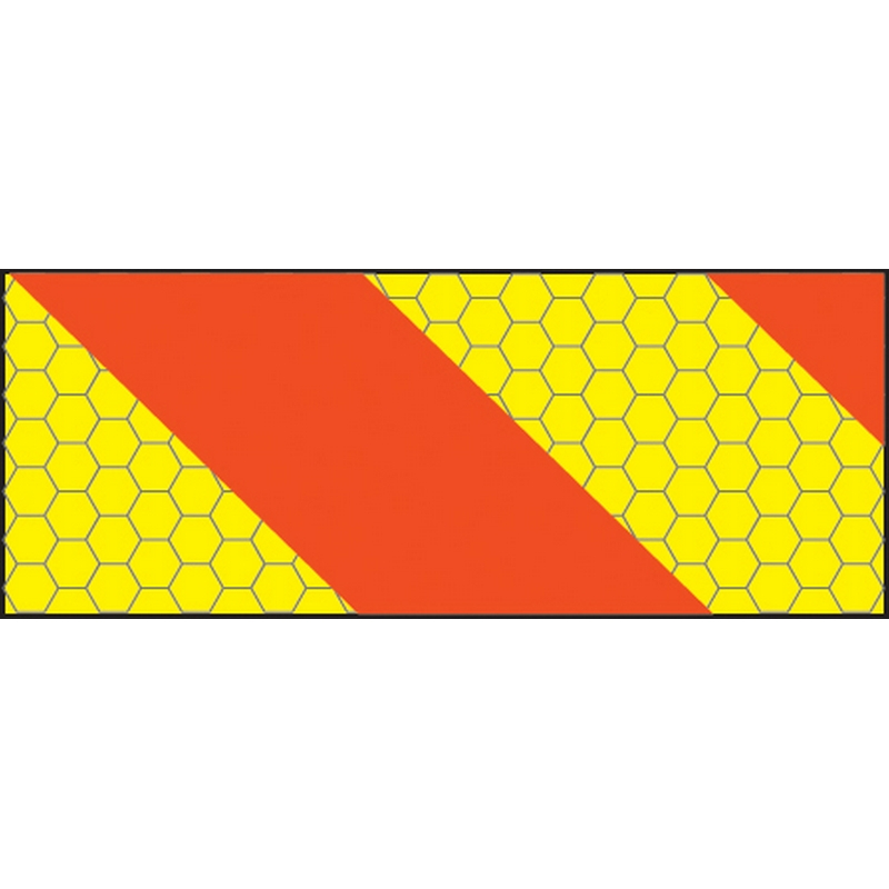 ECE70 Vehicle marking plate 300x140mm right hand horizontal chevron