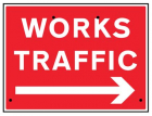 Works traffic arrow right, 600x450mm Re-Flex Sign (3mm reflective polypropylene)