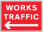 Works traffic arrow left, 600x450mm Re-Flex Sign (3mm reflective polypropylene)