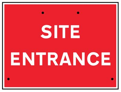 Site entrance, 600x450mm Re-Flex Sign (3mm reflective polypropylene)