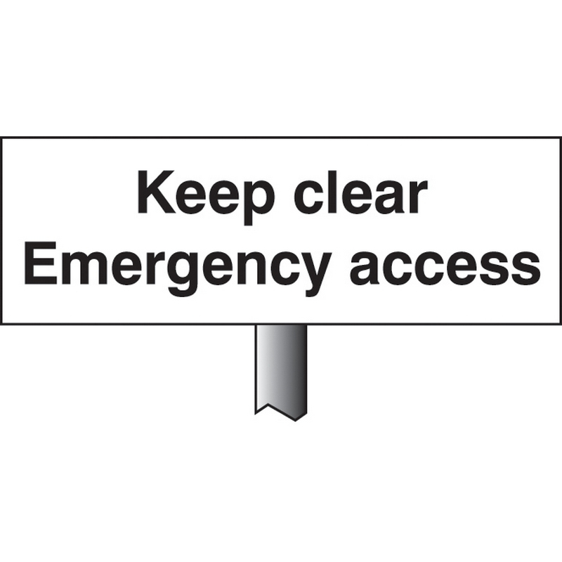 Keep clear emergency access verge sign 450x150mm (post 800mm)