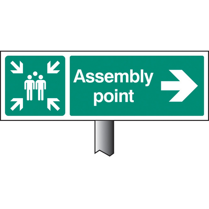 Assembly point right verge sign 450x150mm (post 800mm)