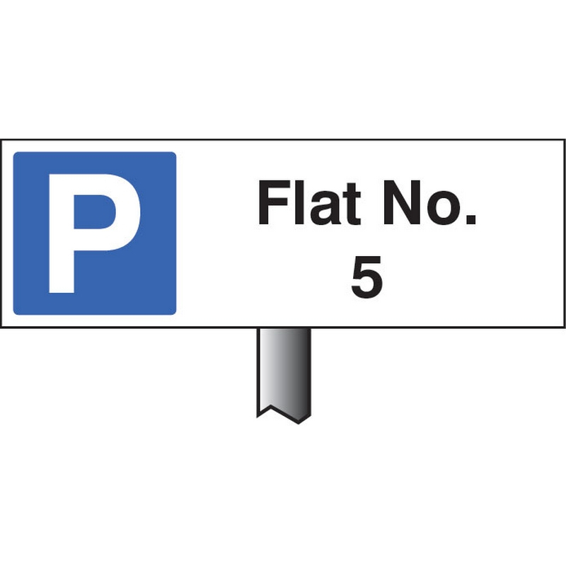 Verge sign - Flat No. (Please specify required no) 450x150mm (post 800mm)
