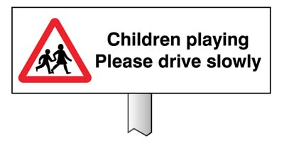 6588 Verge sign - Children playing Please dri...
