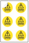 Caution Very hot water 65mm dia - sheet of 6