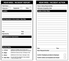 Near miss double sided report/action safety tags 80x150mm (pack of 10)