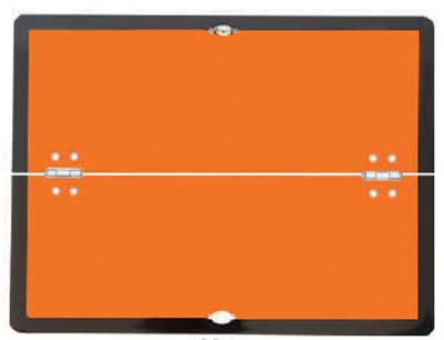 Folding (horizontal) hazard warning vehicle plate 400x300mm reflective aluminium