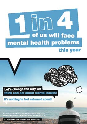 Let's change the way we think and act about mental health poster 420x594mm synthetic paper