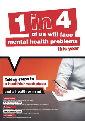 Workplace Well-Being Taking steps to a healthier workplace poster 420x594mm synthetic paper