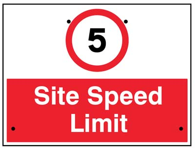 5mph Site speed limit, 600x450mm Re-Flex Sign (3mm reflective polypropylene)