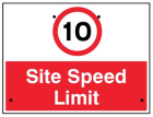 10mph Site speed limit, 600x450mm Re-Flex Sign (3mm reflective polypropylene)