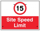 15mph Site speed limit, 600x450mm Re-Flex Sign (3mm reflective polypropylene)